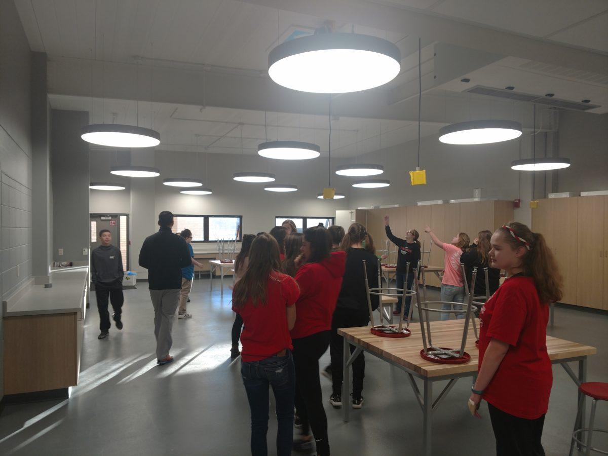 Students exploring the new classroom.