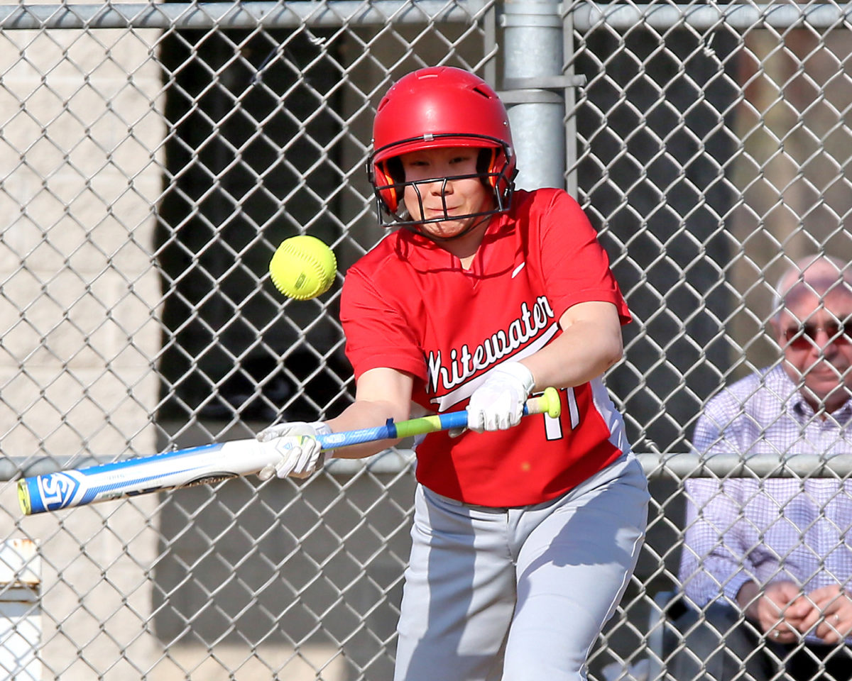 Catherine Yang, pictured here in the Whippets' April 24th game, was 1-3 with 1 run scored and 2 RBIs, on Thursday vs East Troy.