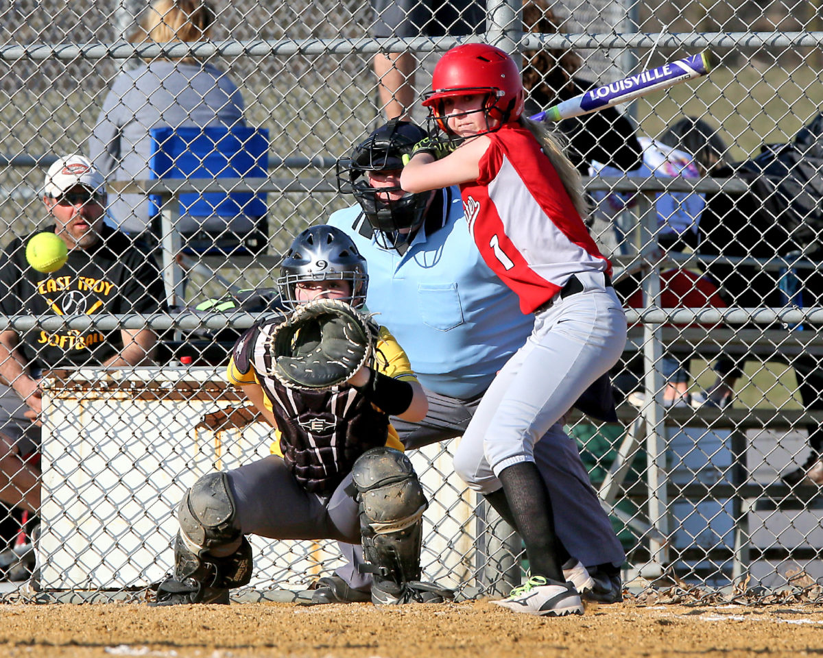 Morgan Gransee, pictured here in the April 24th game, was 4-5, with 2 runs scored and 2 RBIs on Thursday vs East Troy.