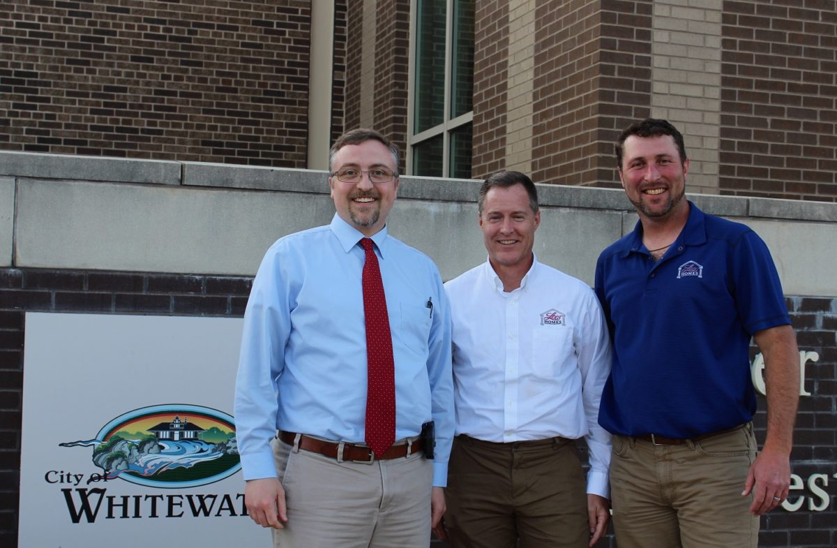City council meeting (left to right): Whitewater City Manager Cameron Clapper, Loos Custom Homes Director of Land Development Cory O'Donnell and Loos Custom Homes Owner Greg Loos