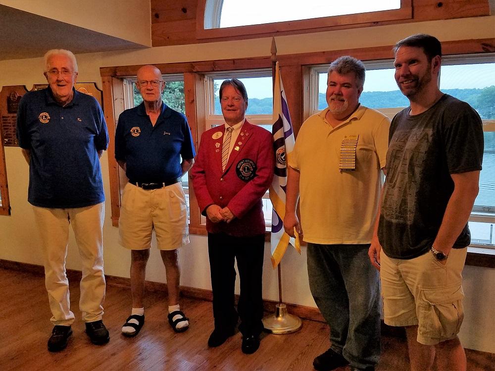 Sponsor Lion Ken Nehring, new member Jerry Schoen, District Governor Jerry Gibbons, Sponsor Lion Dan Schutt, new member Jeff Cady