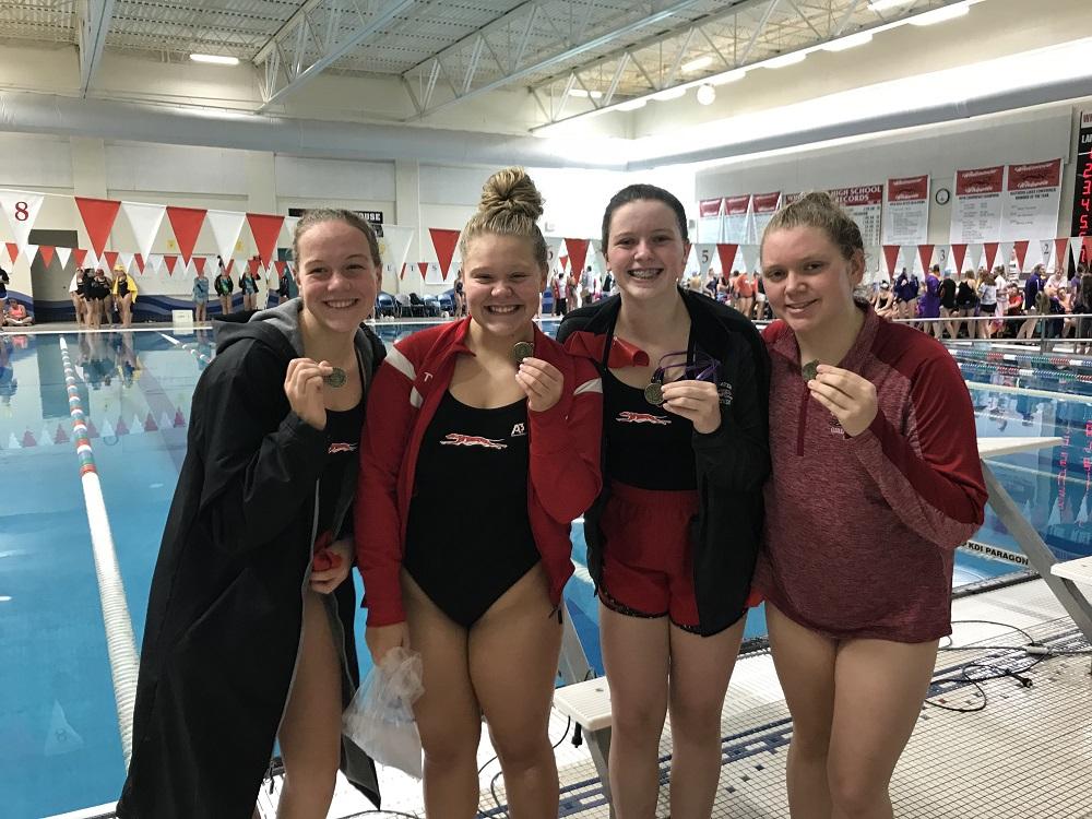 Winners of 4 Relays - L to R: Ella Houwers, Sophia Fanshaw, Brianna Zimdars, Amber Krebs