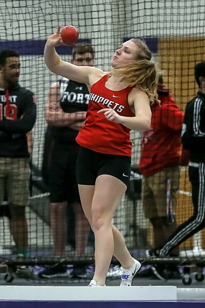 Abby Grosinske was 3rd (out of 45) in the Shot Put and part of the 3rd place 4x200 relay.
