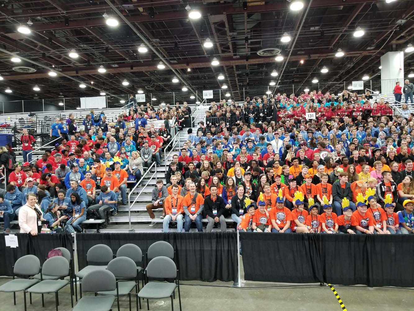 All Wisconsin World qualifiers from FRC, FTC, Lego League, and Lego League Jr (mentors on left, students on right)
