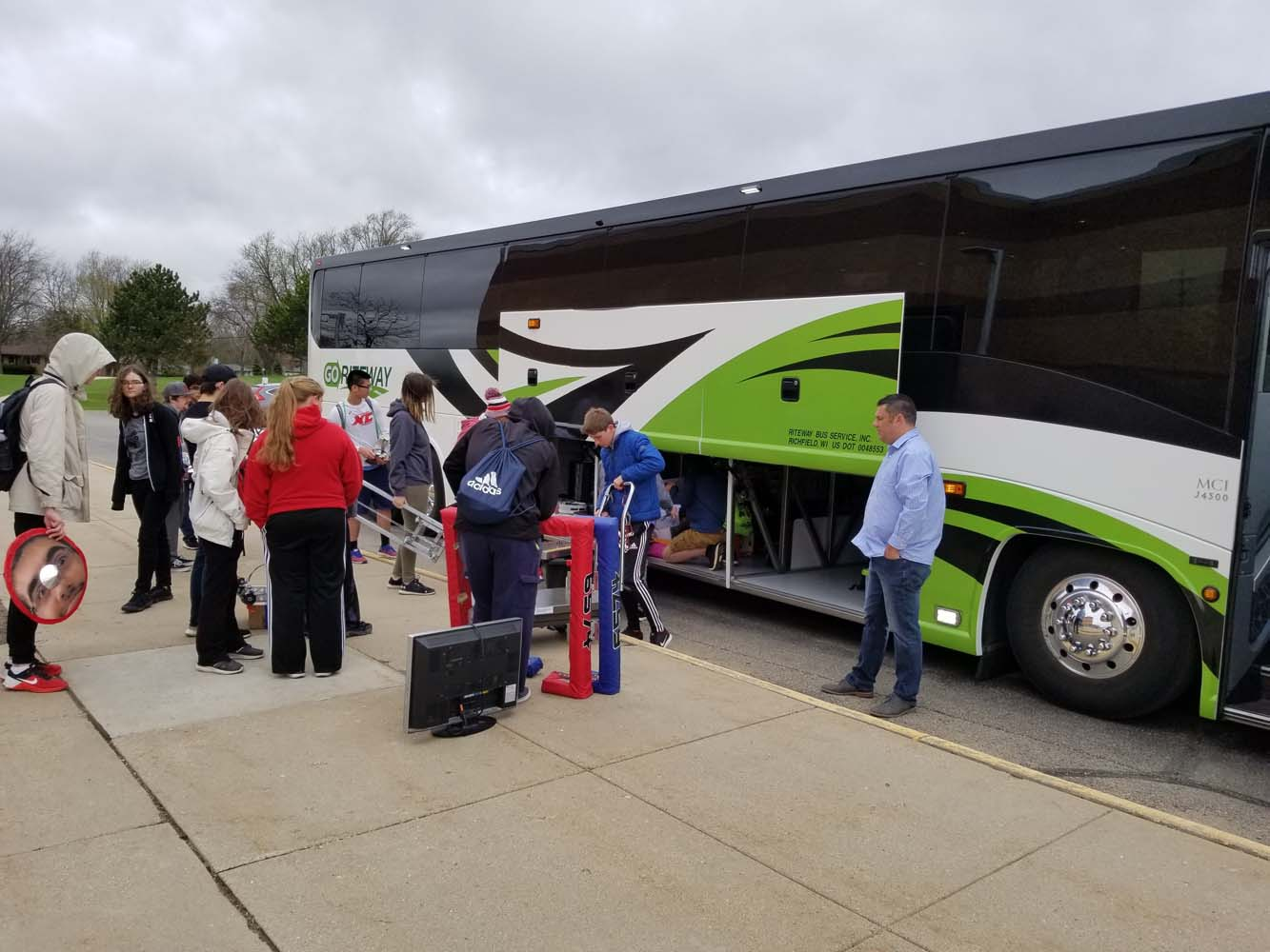 The bus prepares to depart WHS on Tuesday morning