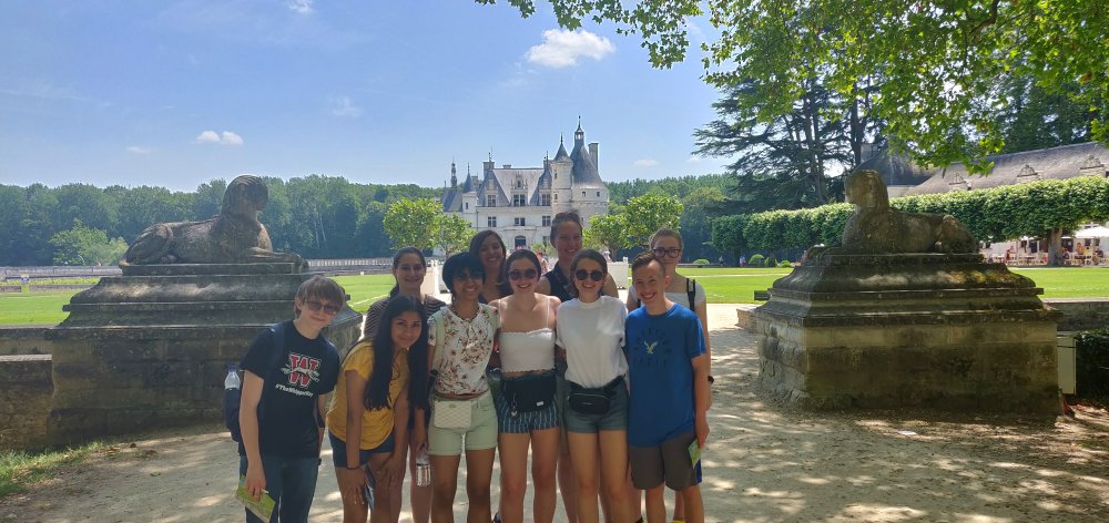 Outside of Chenonceau Castle, located in the Loire Valley