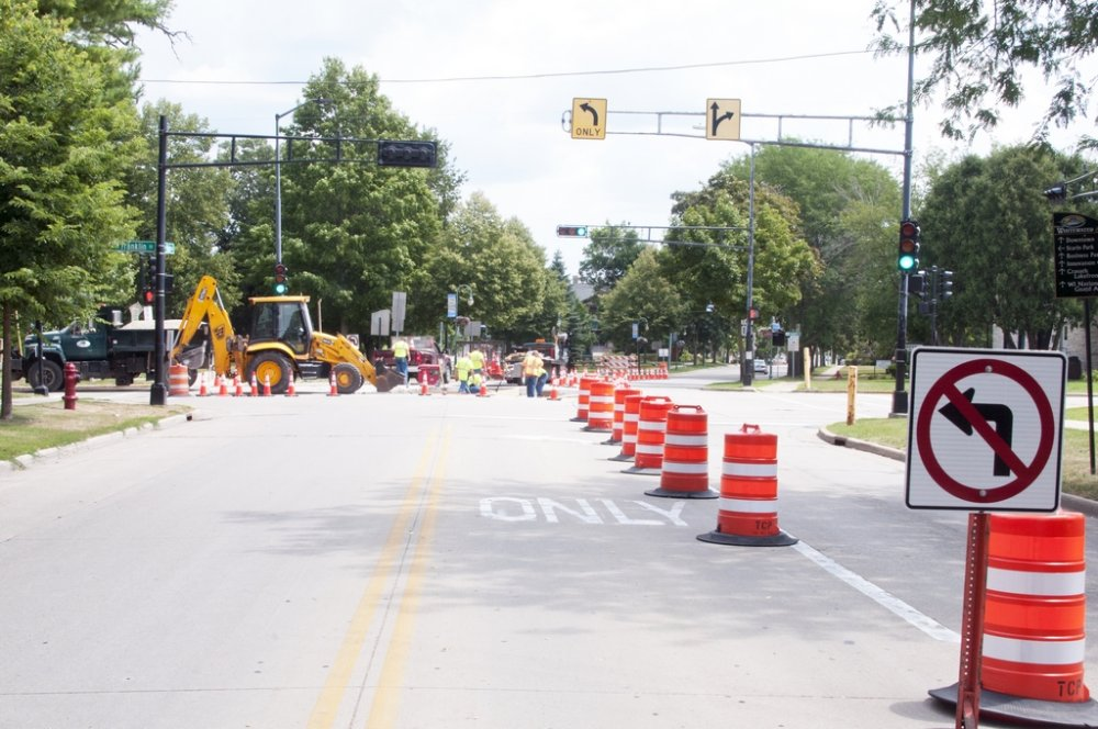 Main & Franklin Pavement Project 8-5-19 - facing EAST on Main Street